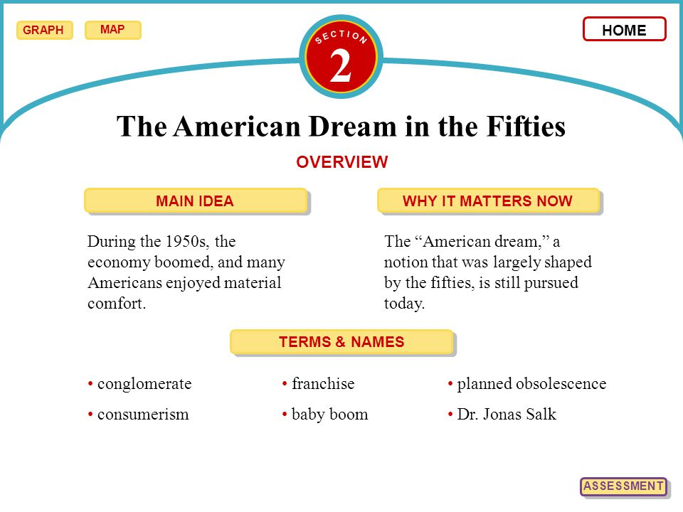 "2 The American Dream in the Fifties HOME OVERVIEW During the 1950s, the economy boomed, and many Americans enjoyed material comfort. The ""American dre"