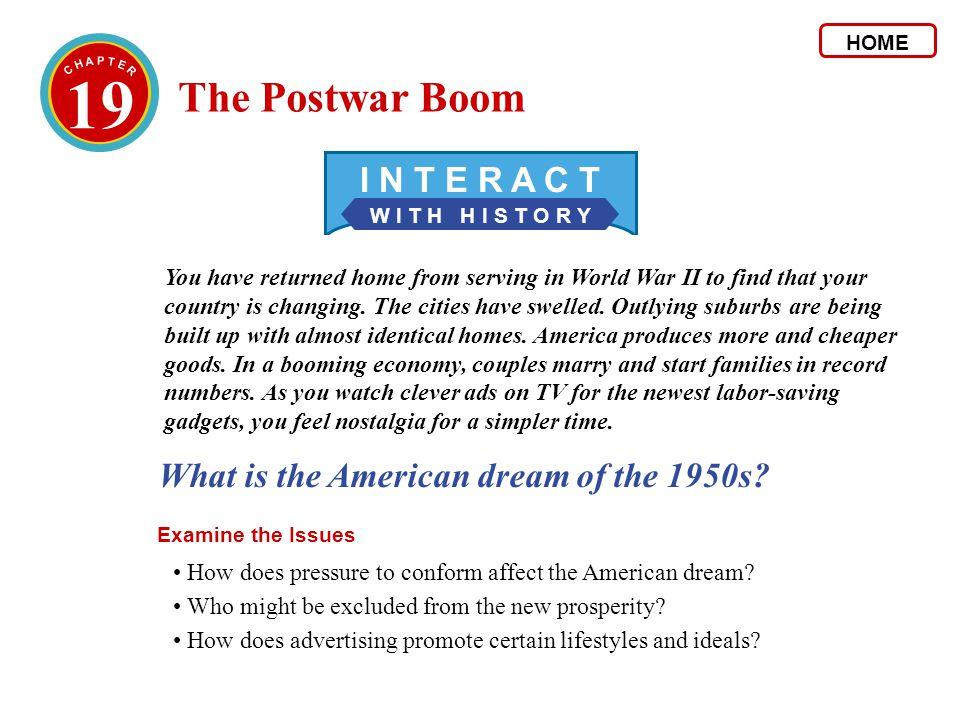 19 The United StatesThe World 1946 Baby boom begins.