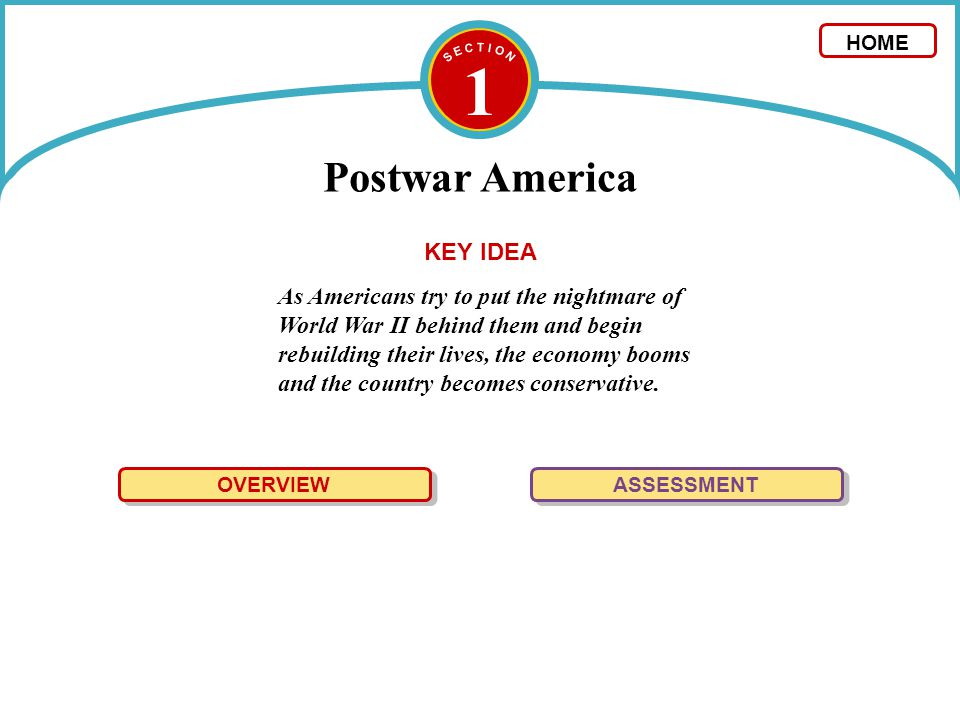 1 Postwar America OVERVIEW The Truman and Eisenhower administrations led the nation to make social, economic, and political adjustments following World War II.