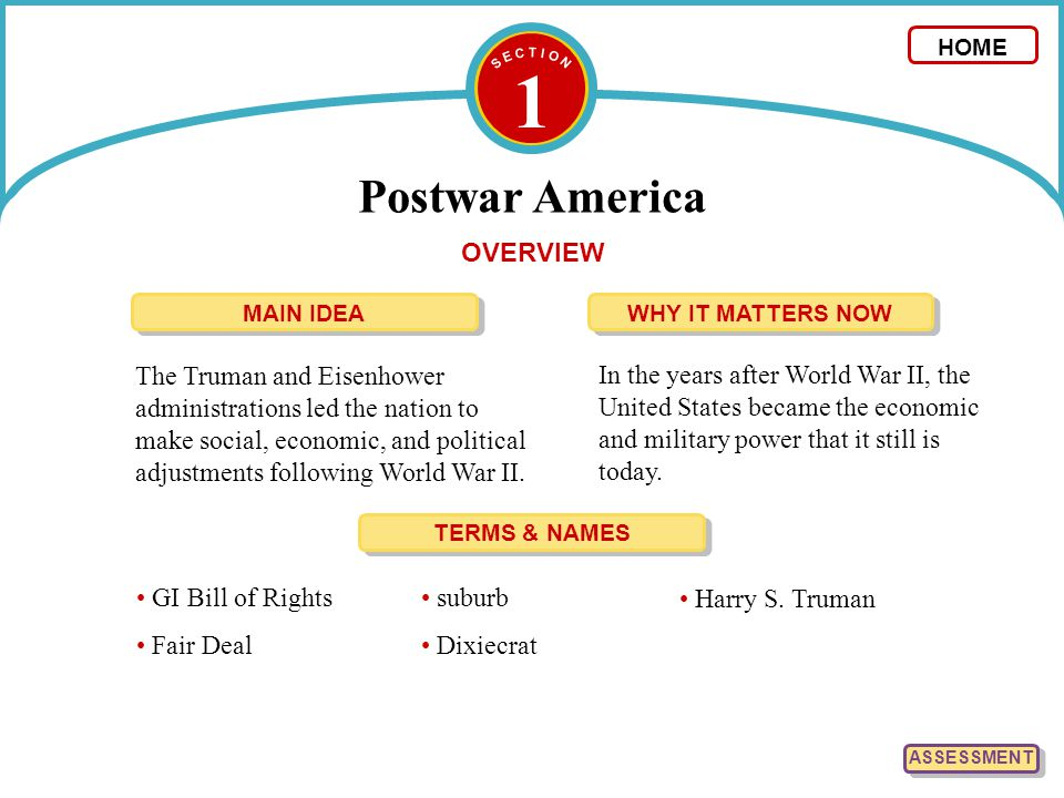 1 Postwar America OVERVIEW The Truman and Eisenhower administrations led the nation to make social, economic, and political adjustments following Worl