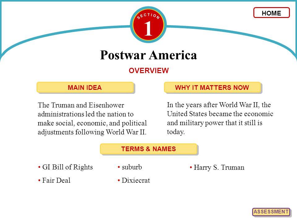 1 Postwar America 1.List the key events relating to postwar America.