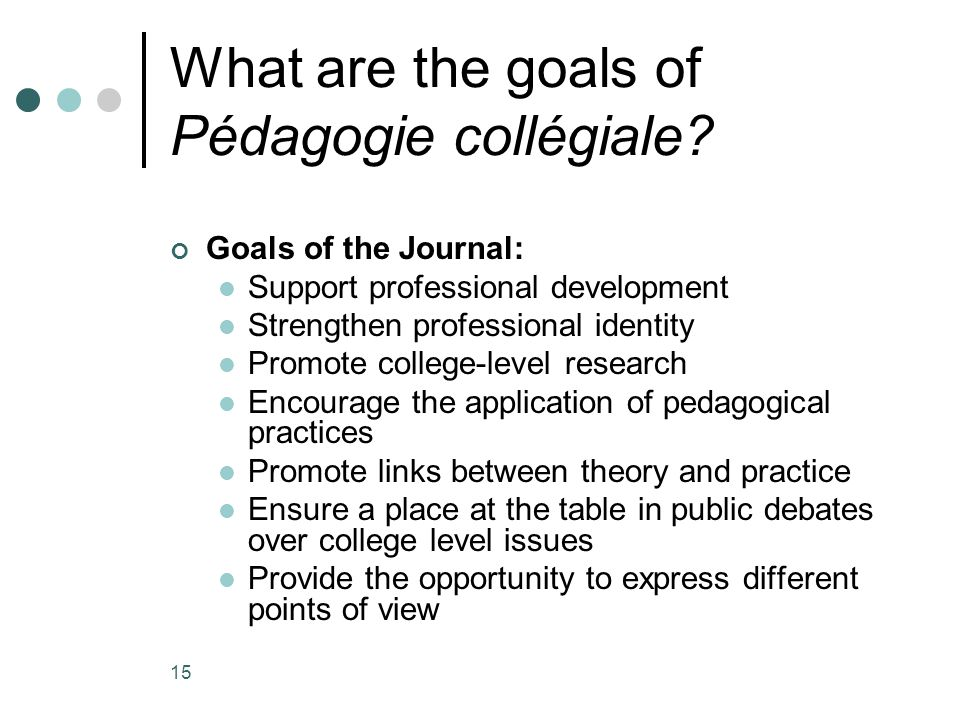 15 What are the goals of Pédagogie collégiale? Goals of the Journal: Support professional development Strengthen professional identity Promote college