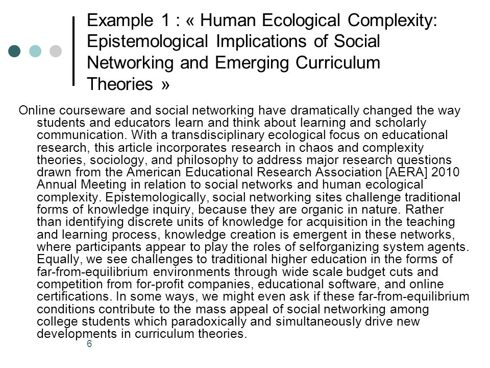 7 Example 2 : « Male Students in Early Childhood Education Techniques: can we Help them to complete their Program of Studies.