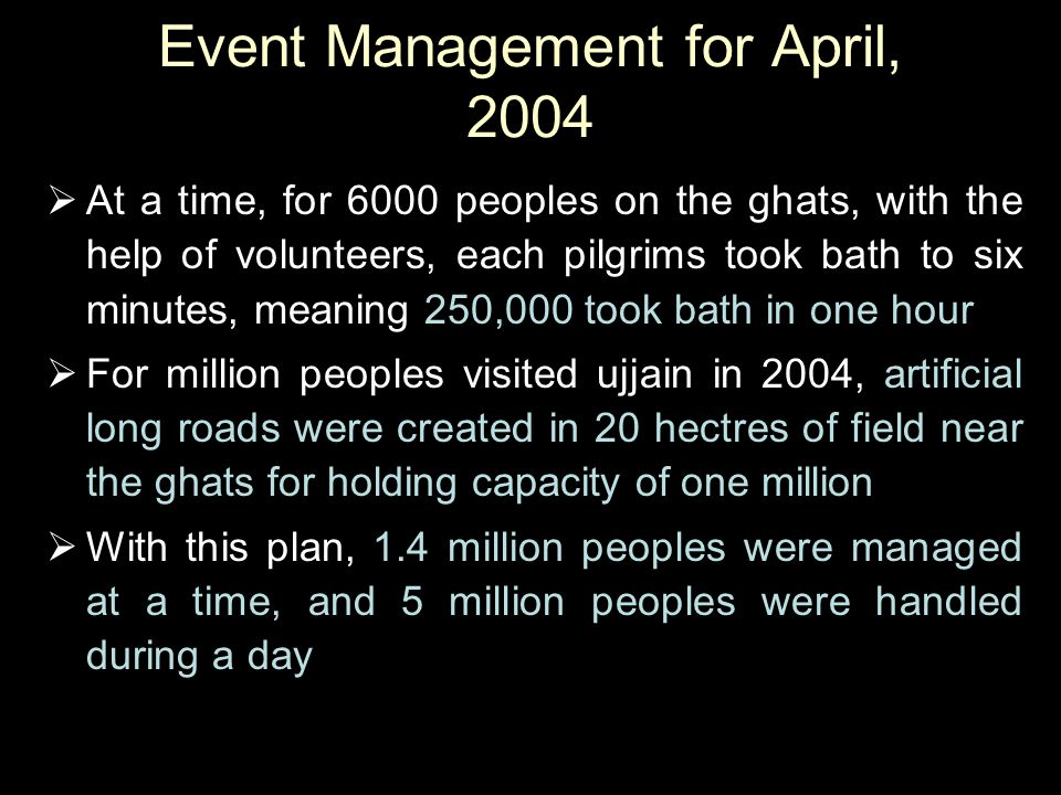 Event Management for April, 2004  At a time, for 6000 peoples on the ghats, with the help of volunteers, each pilgrims took bath to six minutes, mean