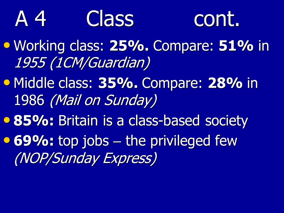 A 4 Class cont. Working class: 25%. Compare: 51% in 1955 (1CM/Guardian) Working class: 25%.