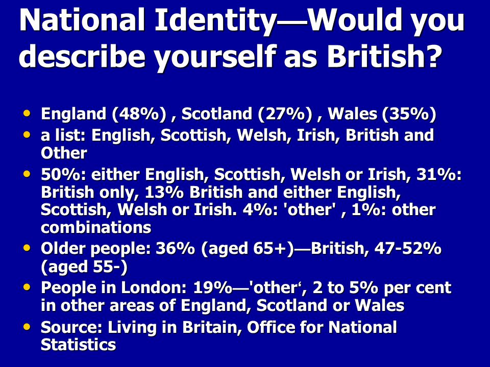 National Identity — Would you describe yourself as British.