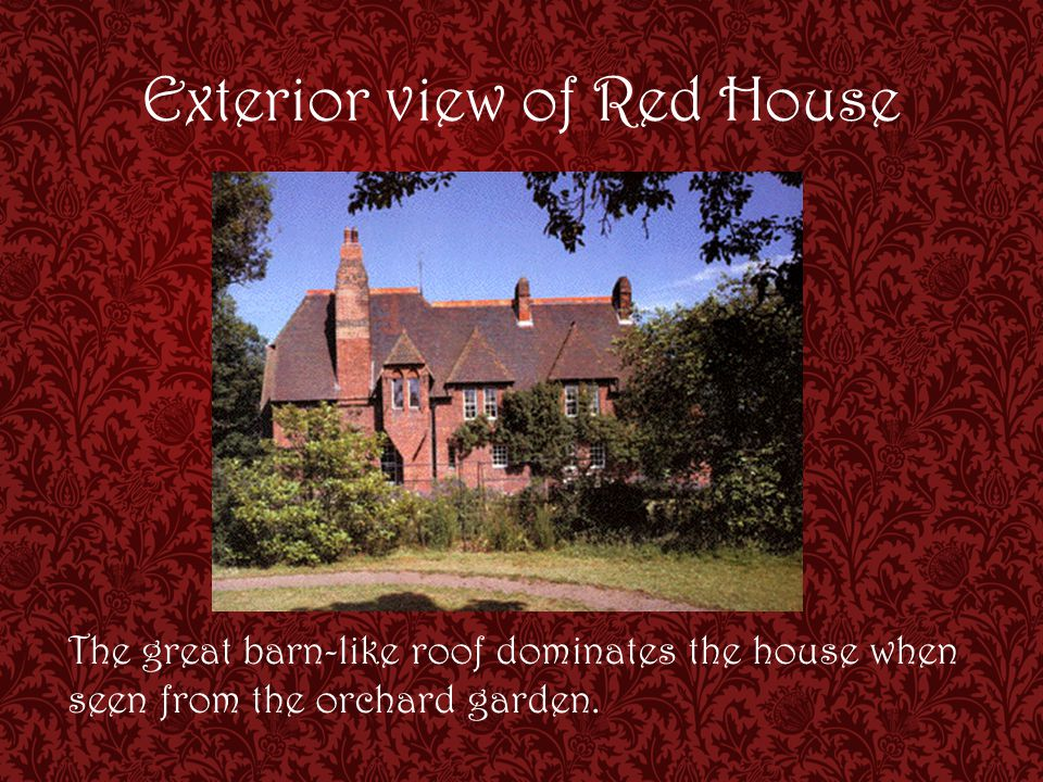 Exterior view of Red House The great barn-like roof dominates the house when seen from the orchard garden.