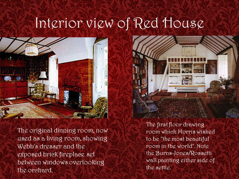Interior view of Red House The original dinning room, now used as a living room, showing Webb s dresser and the exposed brick fireplace set between windows overlooking the orchard.