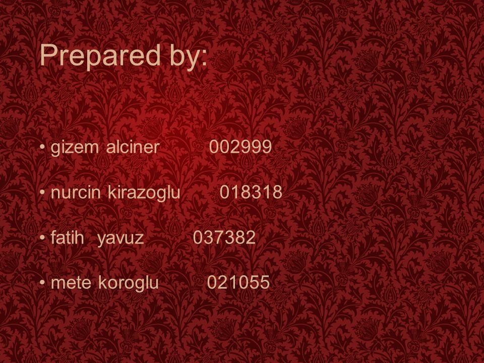 Prepared by: gizem alciner 002999 nurcin kirazoglu 018318 fatih yavuz 037382 mete koroglu 021055