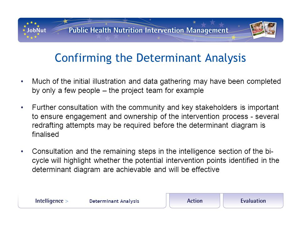 Determinant Analysis Confirming the Determinant Analysis Much of the initial illustration and data gathering may have been completed by only a few people – the project team for example Further consultation with the community and key stakeholders is important to ensure engagement and ownership of the intervention process - several redrafting attempts may be required before the determinant diagram is finalised Consultation and the remaining steps in the intelligence section of the bi- cycle will highlight whether the potential intervention points identified in the determinant diagram are achievable and will be effective