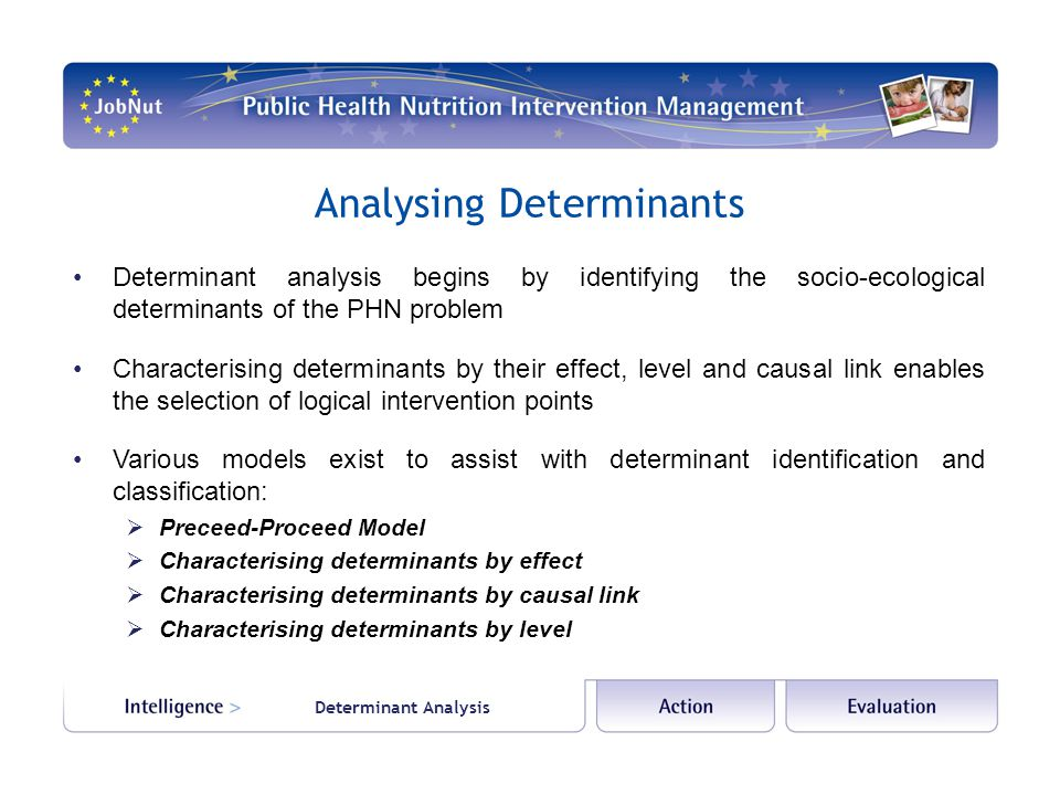 Determinant Analysis Preceed-Proceed Model The Precede-Proceed Model suggests determinants that influence health behaviour can be classified as:  predisposing factors – personal factors that influence personal motivation to change, including attitudes, values, beliefs, knowledge  enabling factors – facilitators or inhibitors that support or hinder change in behaviour or the environment, including societal forces or systems, resources or skills  reinforcing factors – factors that provide feedback and further assist, hinder or prohibit a behavioural or environmental change.