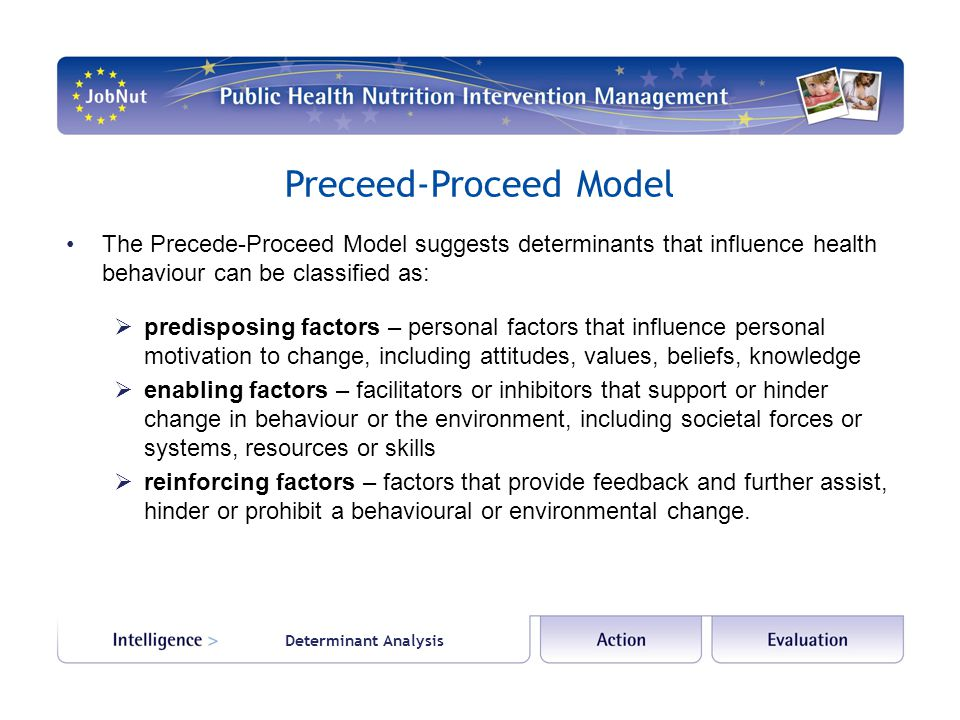 Determinant Analysis Preceed-Proceed Model The Precede-Proceed Model suggests determinants that influence health behaviour can be classified as:  predisposing factors – personal factors that influence personal motivation to change, including attitudes, values, beliefs, knowledge  enabling factors – facilitators or inhibitors that support or hinder change in behaviour or the environment, including societal forces or systems, resources or skills  reinforcing factors – factors that provide feedback and further assist, hinder or prohibit a behavioural or environmental change.