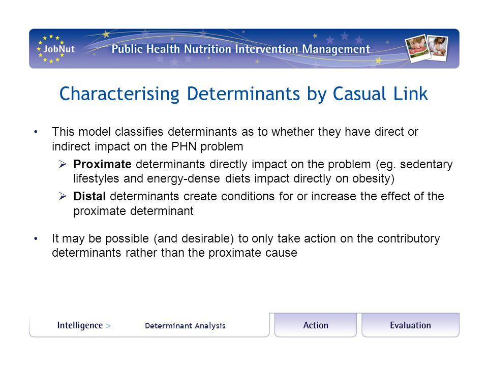 Determinant Analysis Characterising Determinants by Casual Link This model classifies determinants as to whether they have direct or indirect impact on the PHN problem  Proximate determinants directly impact on the problem (eg.