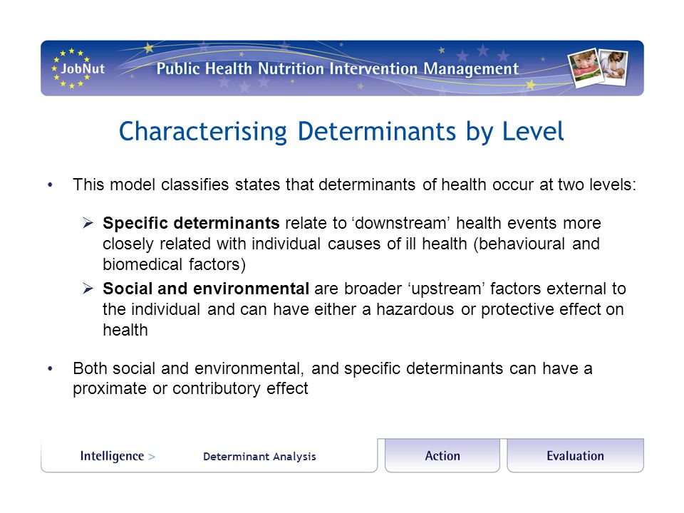 Determinant Analysis Characterising Determinants by Level This model classifies states that determinants of health occur at two levels:  Specific determinants relate to 'downstream' health events more closely related with individual causes of ill health (behavioural and biomedical factors)  Social and environmental are broader 'upstream' factors external to the individual and can have either a hazardous or protective effect on health Both social and environmental, and specific determinants can have a proximate or contributory effect