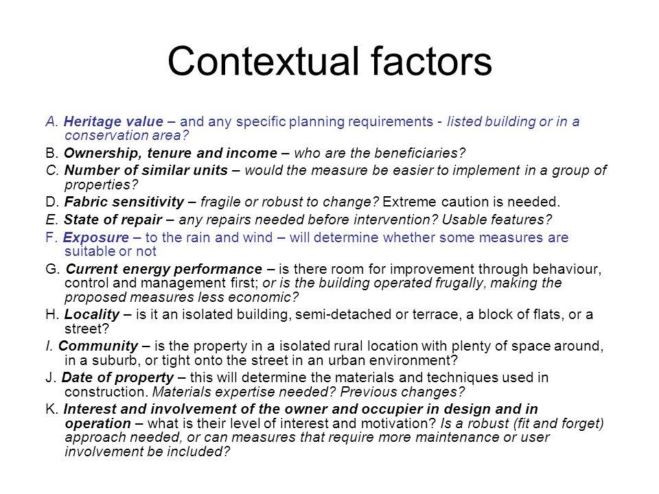 Contextual factors A.