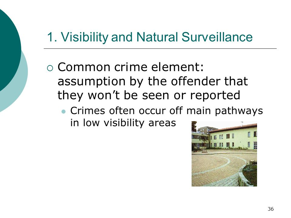 36 1. Visibility and Natural Surveillance  Common crime element: assumption by the offender that they won't be seen or reported Crimes often occur of