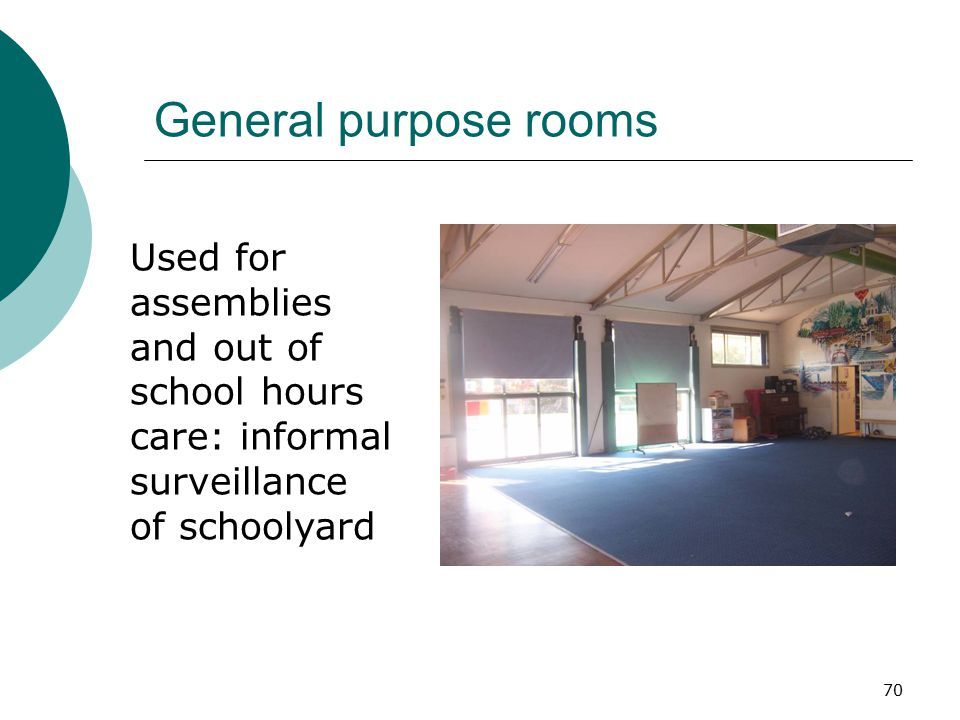 70 General purpose rooms Used for assemblies and out of school hours care: informal surveillance of schoolyard
