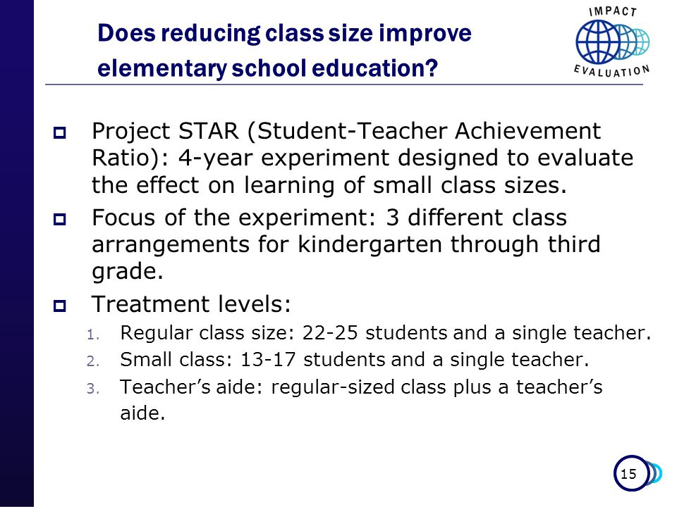 15 Does reducing class size improve elementary school education.