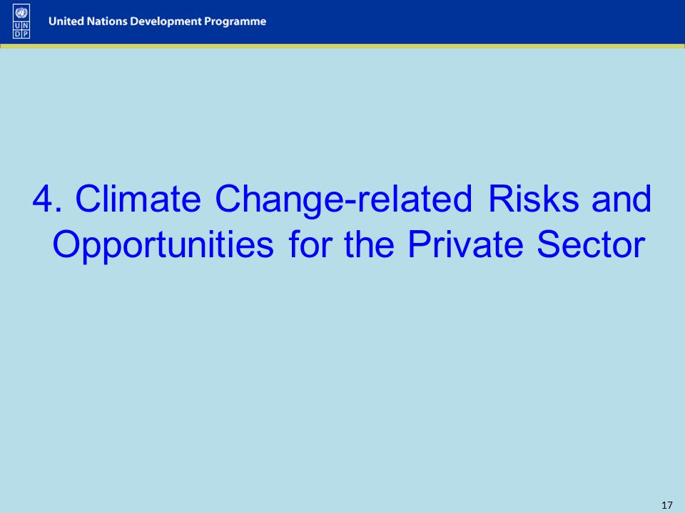 17 4. Climate Change-related Risks and Opportunities for the Private Sector