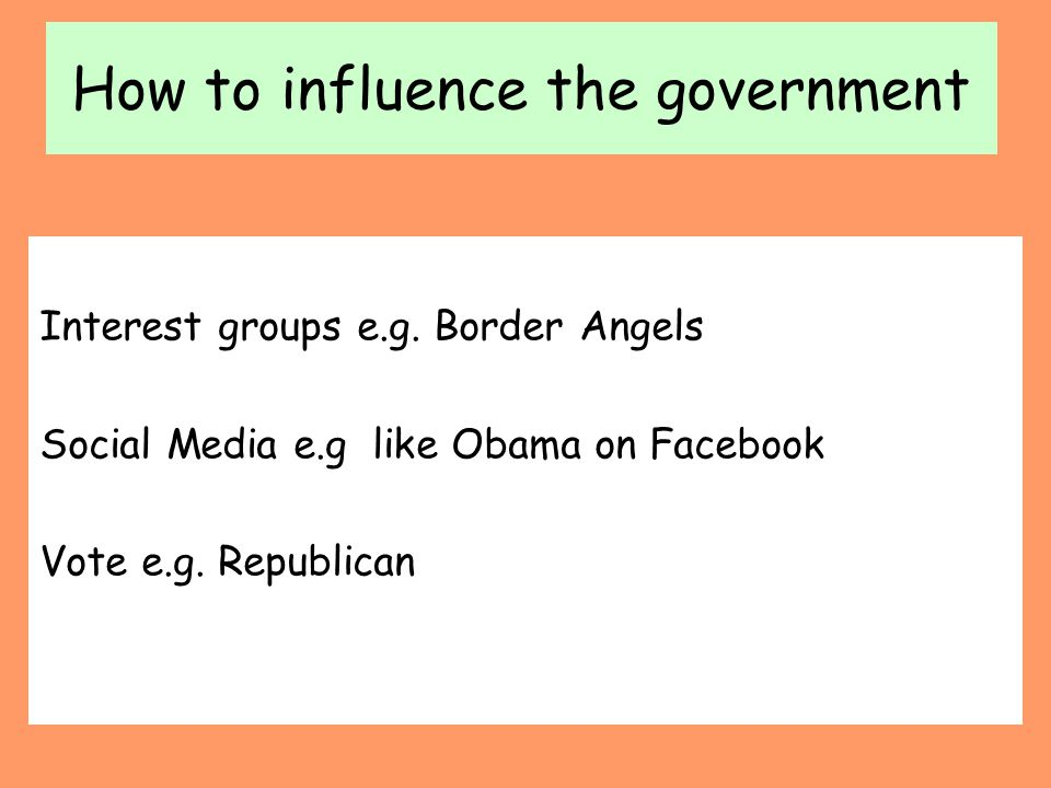 How to influence the government Interest groups e.g. Border Angels Social Media e.g like Obama on Facebook Vote e.g. Republican