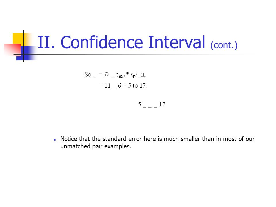 II. Confidence Interval (cont.) Notice that the standard error here is much smaller than in most of our unmatched pair examples.