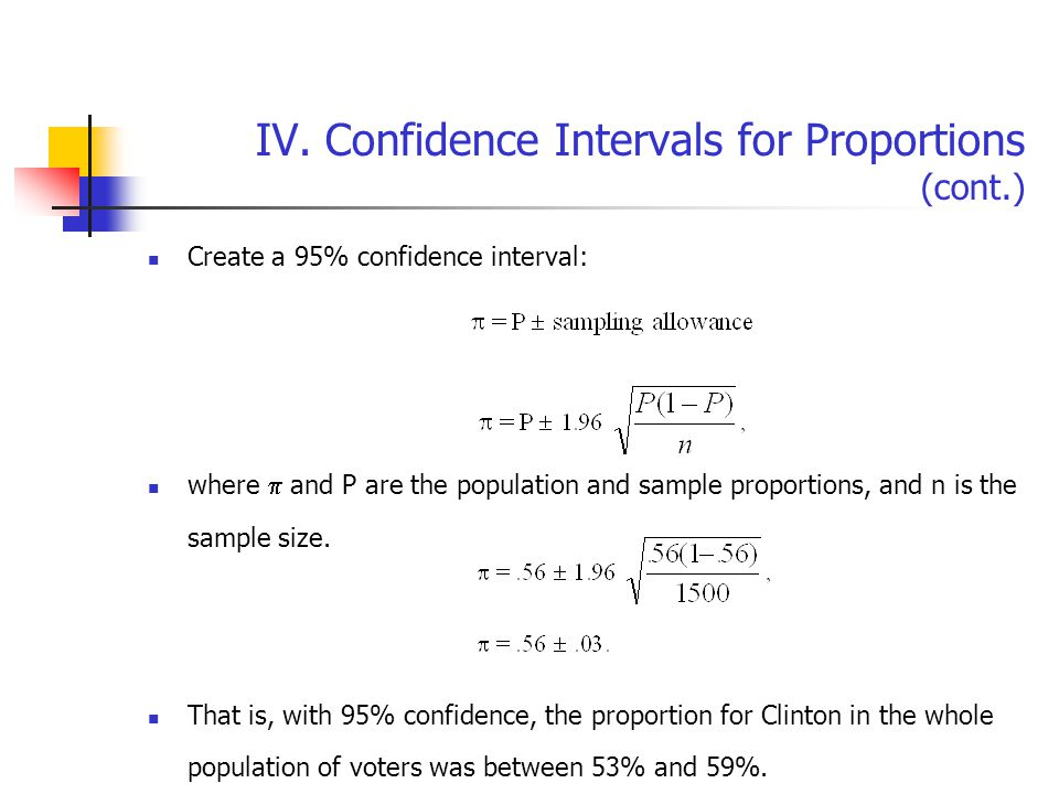 IV. Confidence Intervals for Proportions (cont.) Create a 95% confidence interval: where  and P are the population and sample proportions, and n is t