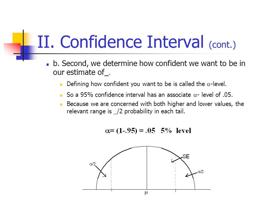 II. Confidence Interval (cont.) b. Second, we determine how confident we want to be in our estimate of_  Defining how confident you want to be is cal