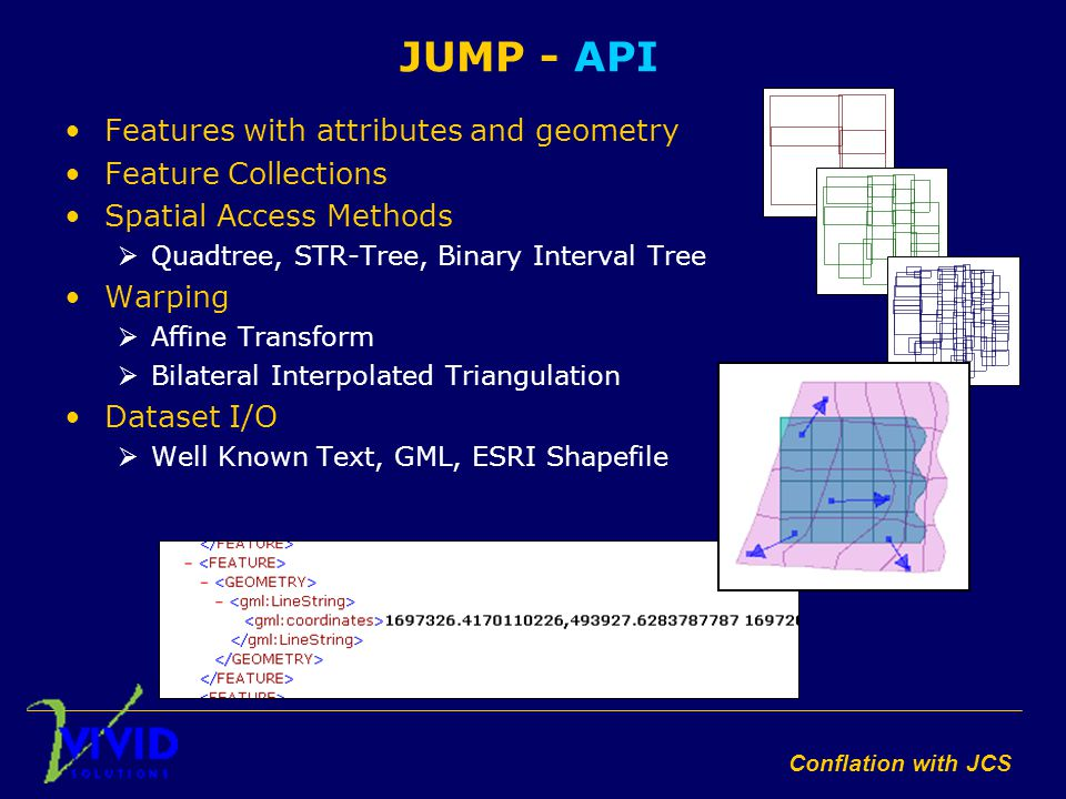Conflation with JCS JUMP - API Features with attributes and geometry Feature Collections Spatial Access Methods  Quadtree, STR-Tree, Binary Interval Tree Warping  Affine Transform  Bilateral Interpolated Triangulation Dataset I/O  Well Known Text, GML, ESRI Shapefile