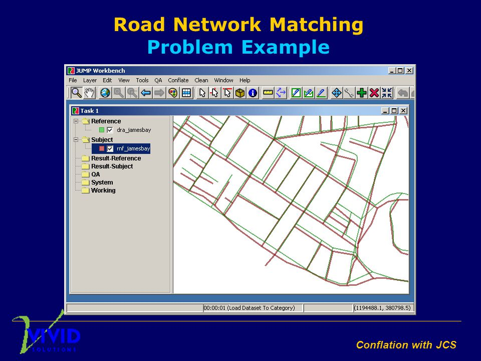 Conflation with JCS Road Network Matching Problem Example