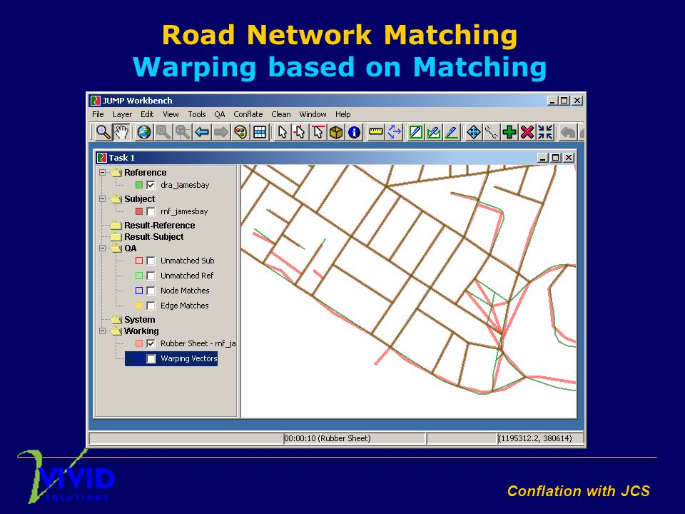 Conflation with JCS Road Network Matching Warping based on Matching