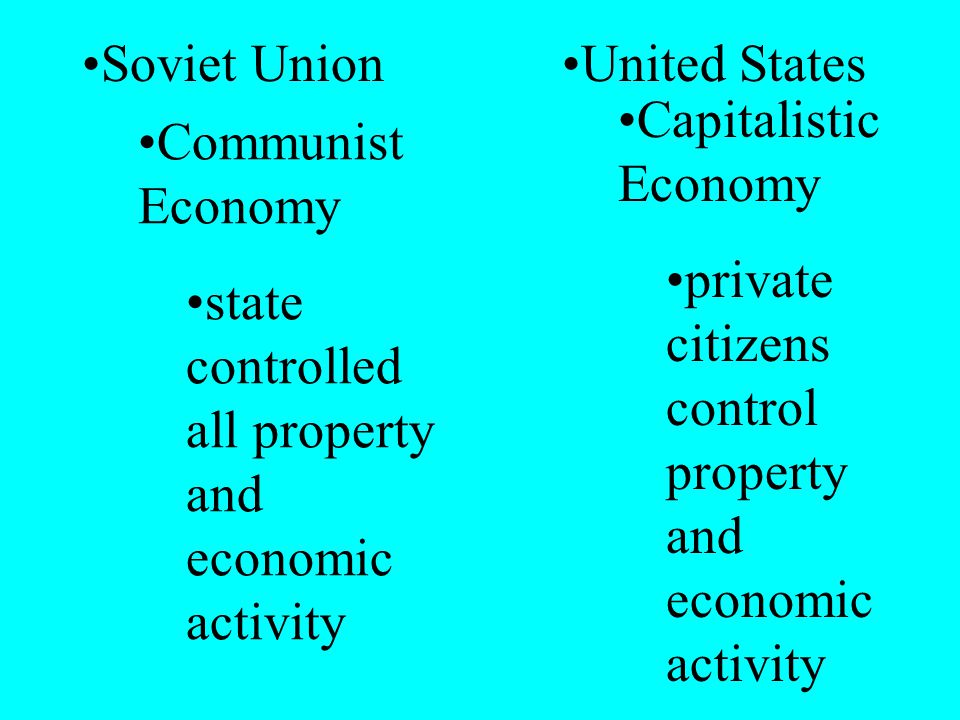 Soviet UnionUnited States Communist Economy state controlled all property and economic activity Capitalistic Economy private citizens control property