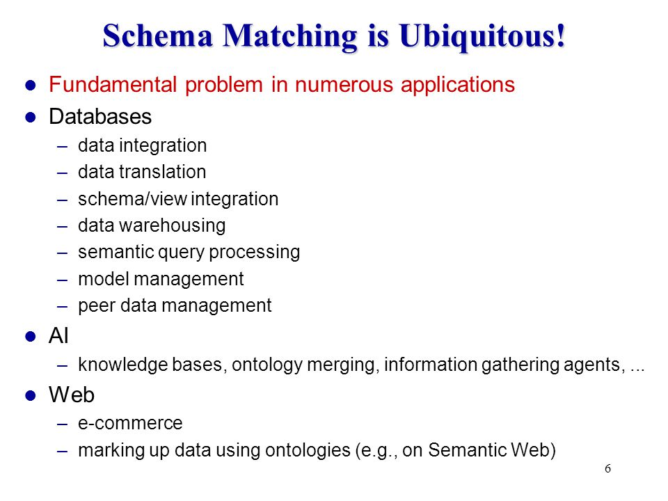 6 Schema Matching is Ubiquitous.
