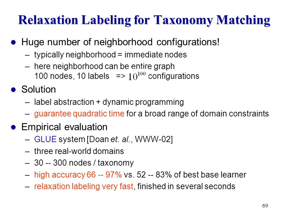 69 Relaxation Labeling for Taxonomy Matching Huge number of neighborhood configurations.