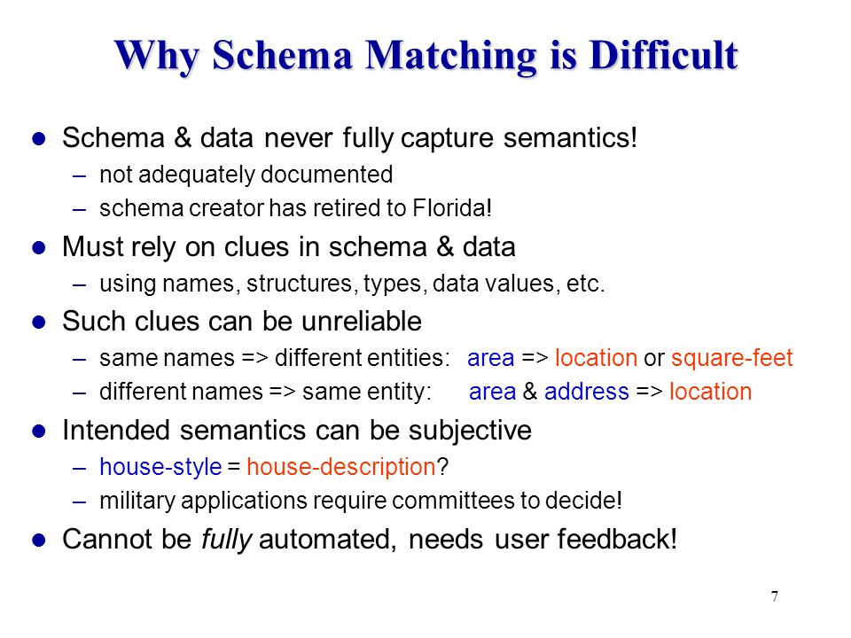 28 listed-price agent-id full-baths half-baths city zipcode The iMAP Approach For each mediated-schema element –searches space of all matches –finds a small set of likely match candidates –uses LSD to evaluate them To search efficiently –employs a specialized searcher for each element type –Text Searcher, Numeric Searcher, Category Searcher,...