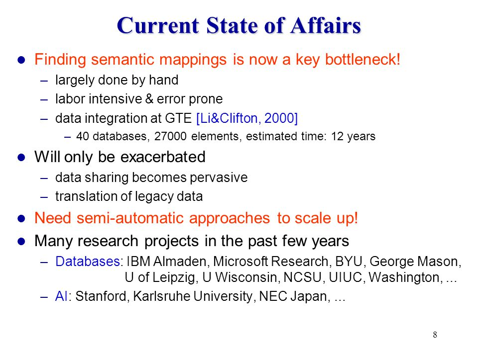 8 Current State of Affairs Finding semantic mappings is now a key bottleneck.