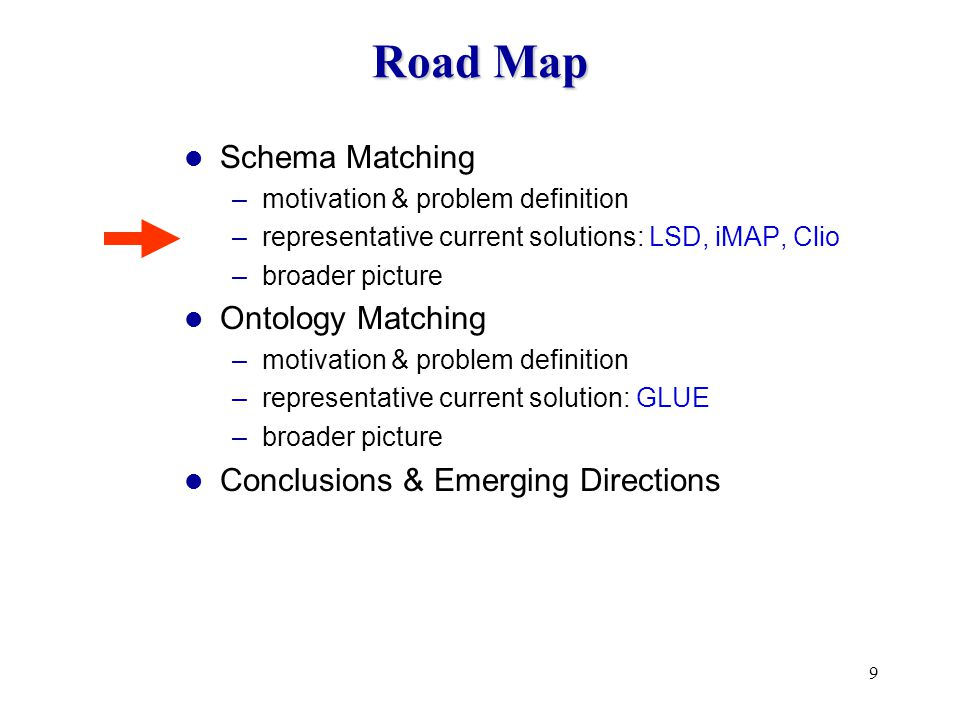 9 Road Map Schema Matching –motivation & problem definition –representative current solutions: LSD, iMAP, Clio –broader picture Ontology Matching –motivation & problem definition –representative current solution: GLUE –broader picture Conclusions & Emerging Directions