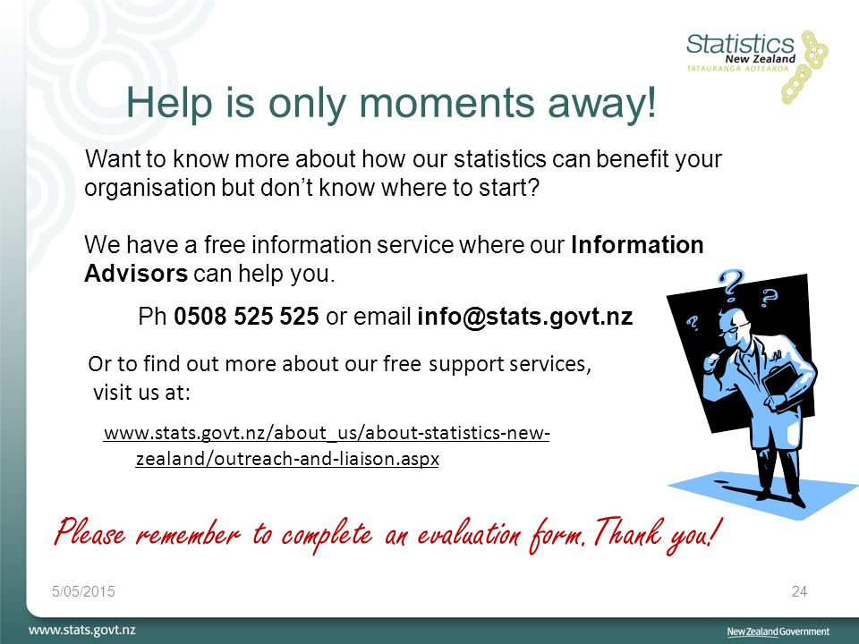 5/05/201524 Help is only moments away! Please remember to complete an evaluation form.Thank you! Want to know more about how our statistics can benefi