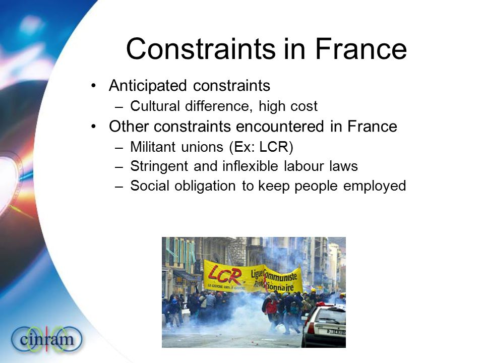 Constraints in France Anticipated constraints –Cultural difference, high cost Other constraints encountered in France –Militant unions (Ex: LCR) –Stringent and inflexible labour laws –Social obligation to keep people employed