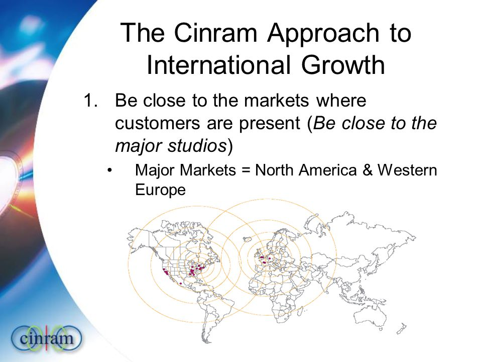 The Cinram Approach to International Growth 1.Be close to the markets where customers are present (Be close to the major studios) Major Markets = North America & Western Europe
