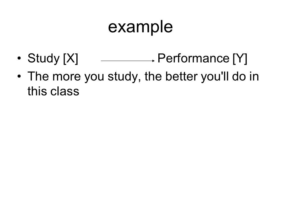 example Study [X] Performance [Y] The more you study, the better you ll do in this class