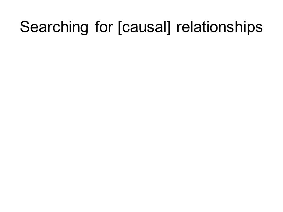 Searching for [causal] relationships