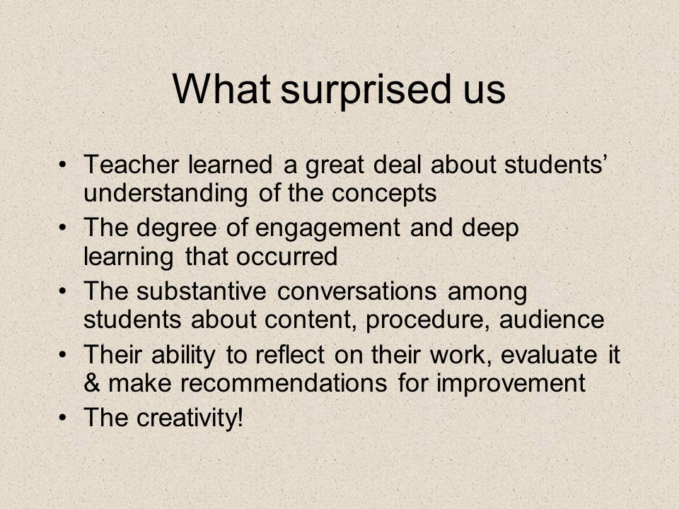 What surprised us Teacher learned a great deal about students' understanding of the concepts The degree of engagement and deep learning that occurred The substantive conversations among students about content, procedure, audience Their ability to reflect on their work, evaluate it & make recommendations for improvement The creativity!