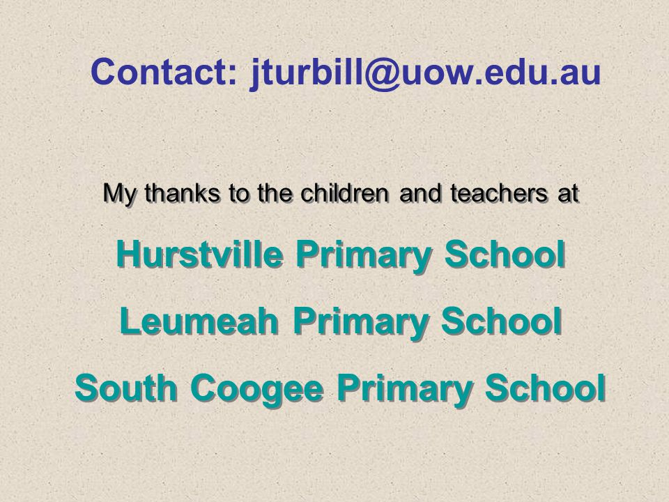Contact: jturbill@uow.edu.au My thanks to the children and teachers at Hurstville Primary School Leumeah Primary School South Coogee Primary School My thanks to the children and teachers at Hurstville Primary School Leumeah Primary School South Coogee Primary School