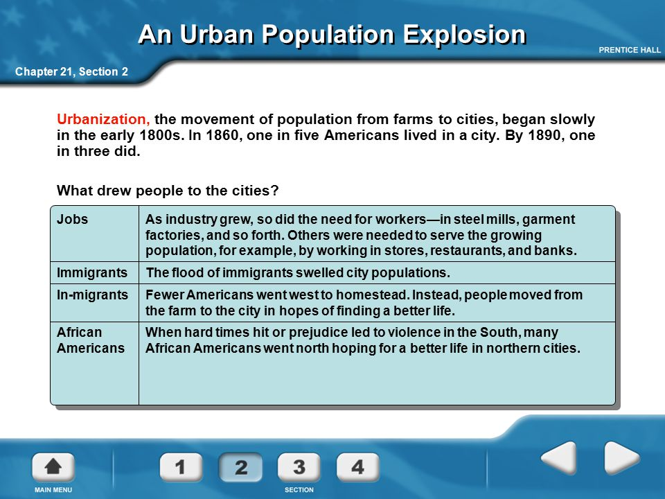 Chapter 21, Section 2 An Urban Population Explosion Urbanization, the movement of population from farms to cities, began slowly in the early 1800s. In