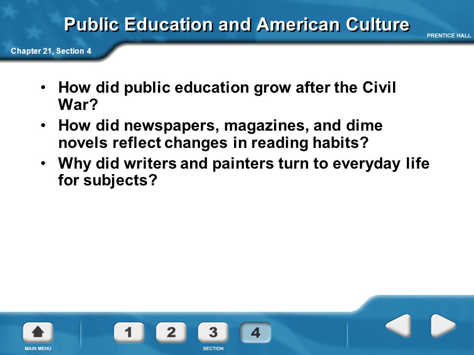 Chapter 21, Section 4 Public Education and American Culture How did public education grow after the Civil War? How did newspapers, magazines, and dime