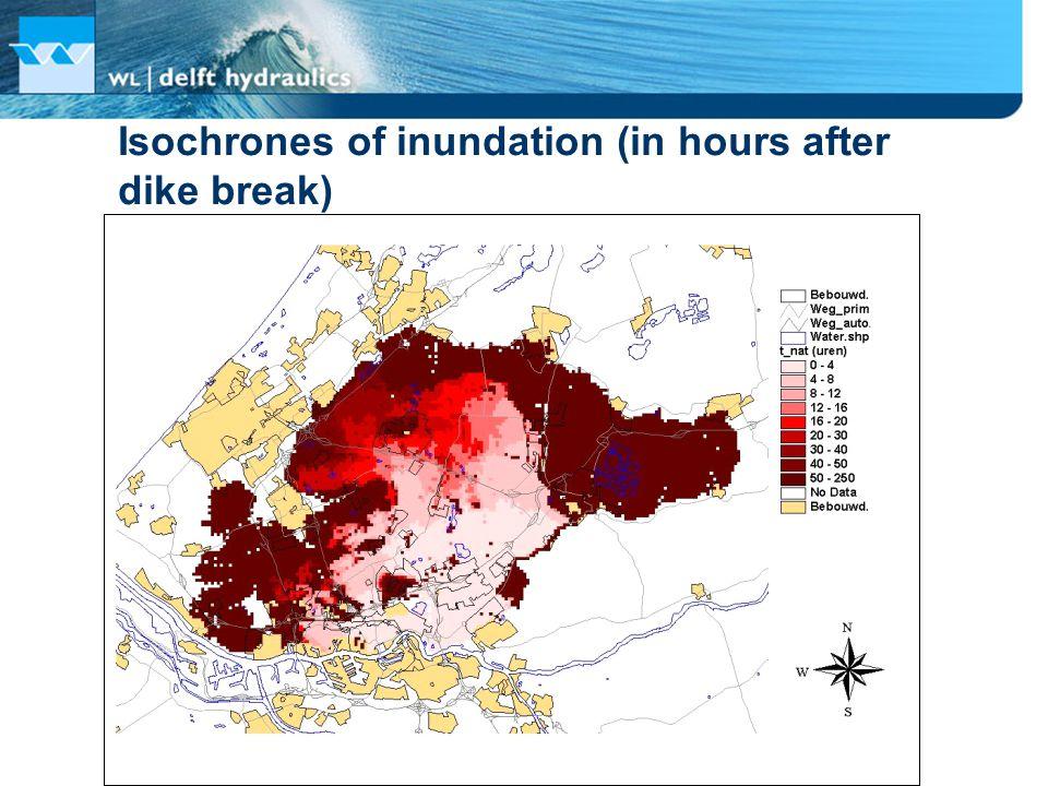 Isochrones of inundation (in hours after dike break)