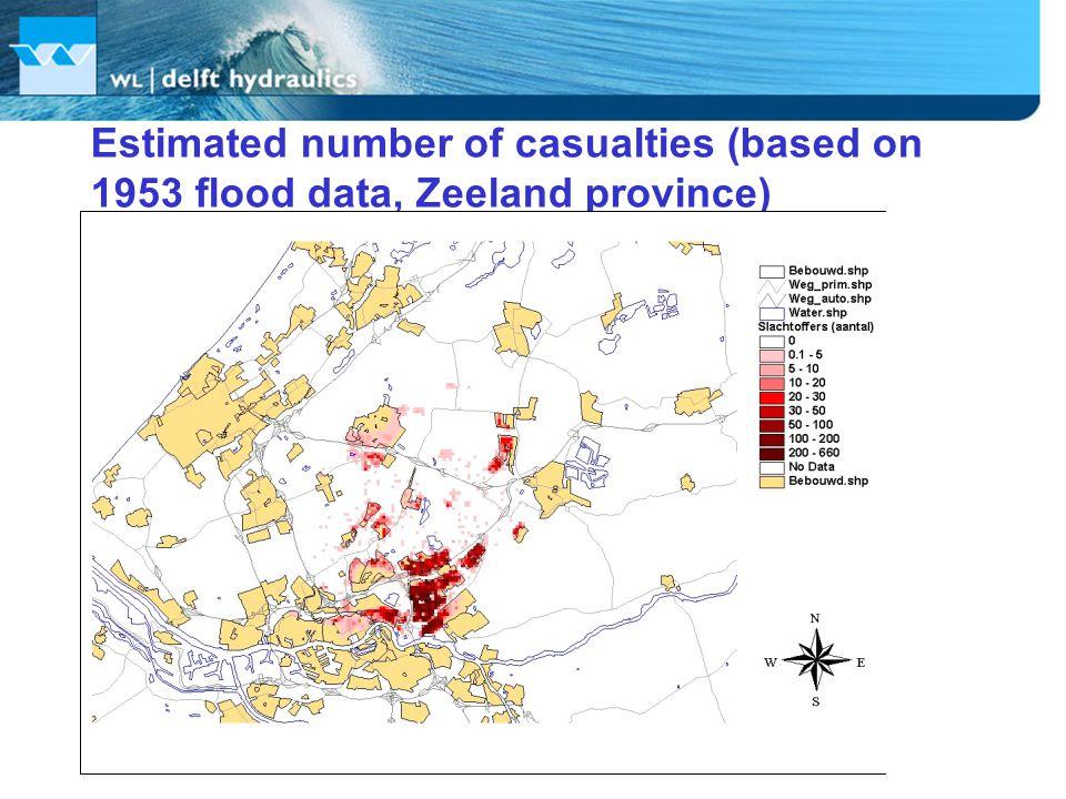 Estimated number of casualties (based on 1953 flood data, Zeeland province)