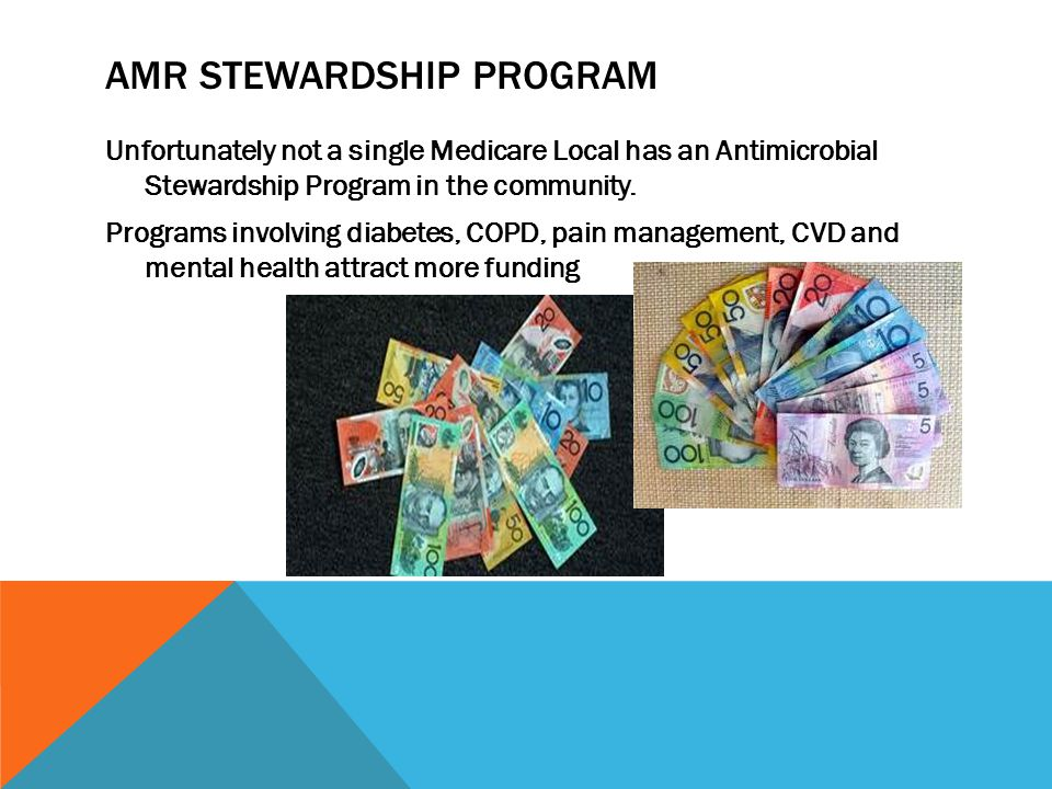 AMR STEWARDSHIP PROGRAM Unfortunately not a single Medicare Local has an Antimicrobial Stewardship Program in the community.