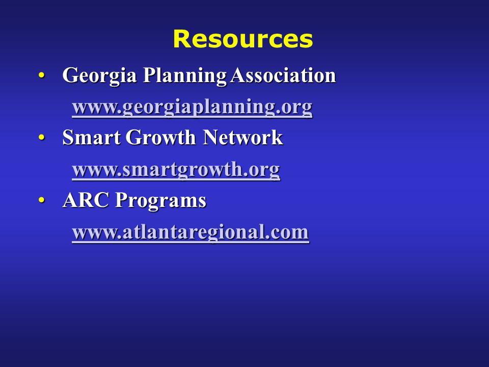 Georgia Planning AssociationGeorgia Planning Association www.georgiaplanning.org Smart Growth NetworkSmart Growth Network www.smartgrowth.org ARC ProgramsARC Programs www.atlantaregional.com Resources