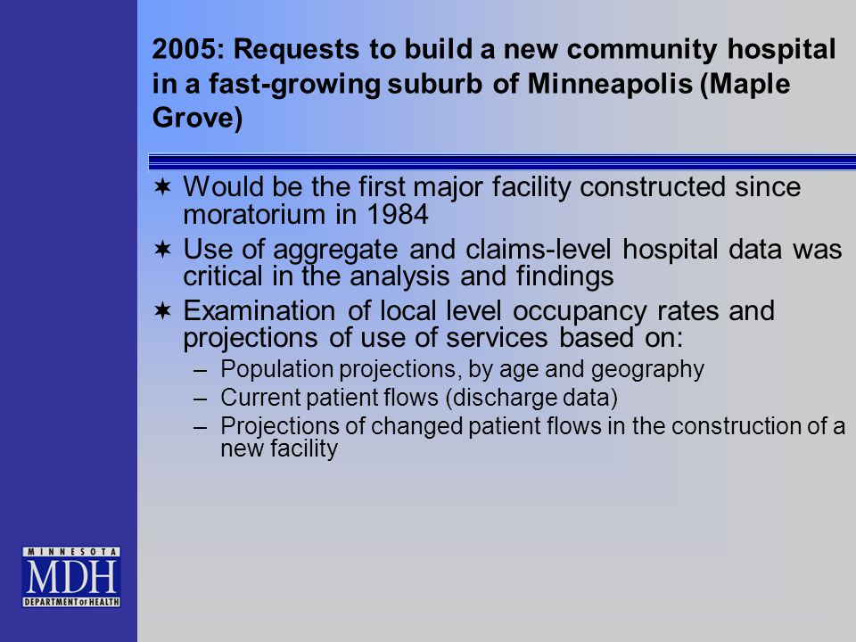 Occupancy Rates at Existing Hospitals Serving the Maple Grove Community